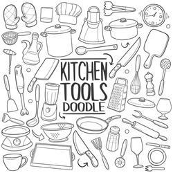 Kitchen Tools Doodle. Icons Hand Drawn. Scribble Clip Art. Scrapbook Line Art Design.