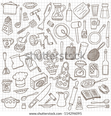 kitchen tools doodles collection