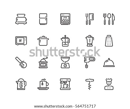 Kitchen tools icon set, outline style