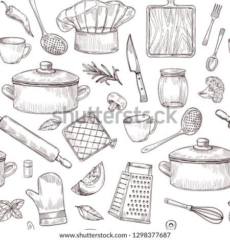 Kitchen tools seamless pattern. Sketch cooking utensils hand drawn kitchenware. Engraved kitchen elements vector background