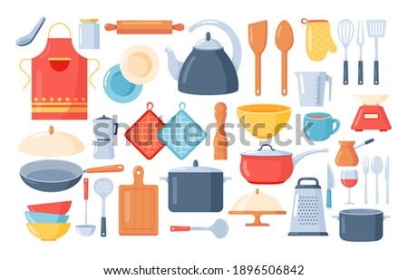 Kitchen tools set.Kitchen utensils icon collection with knife, spoon, fork, pans, cup, teapot, grater, rolling pin, cutting board, cutlery. Cooking and kitchenware food.Household in flat cartoon style Stock photo ©