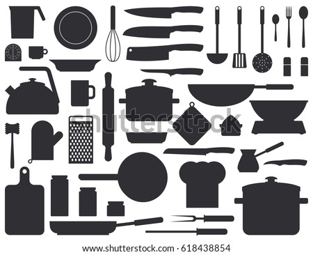 Kitchen tools silhouette set. Kitchenware collection. Black cooking tools, utensils, cutlery isolated on white background. Monochrome vector illustration