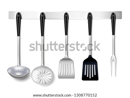 Kitchen tools utensils metal hanging rack closeup realistic image with ladle spatula skimmer cooking fork vector illustration