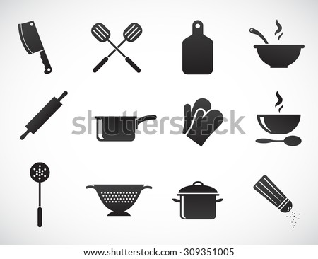 Kitchen tools - vector icon set.