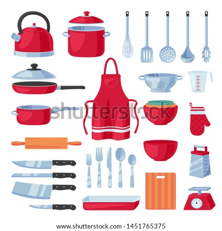 Kitchen utensil design elements set, isolated on white background. Vector cooking and kitchenware modern tools collection. Household flat cartoon icons.