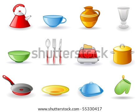 Kitchen utensil icon set.  Isolated on a white background.