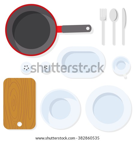 Kitchen utensil. Tableware. Empty plate with knife, spoon, fork, cup, salt, pepper, pan and cutting board. Top view illustration. Flat