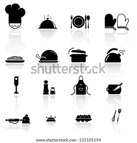 Kitchen utensils  and food icon