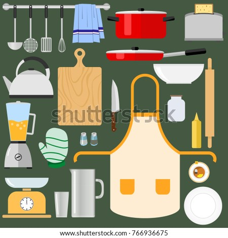 Kitchen utensils and items for cooking. A large set of kitchen items. Flat design, vector illustration, vector.