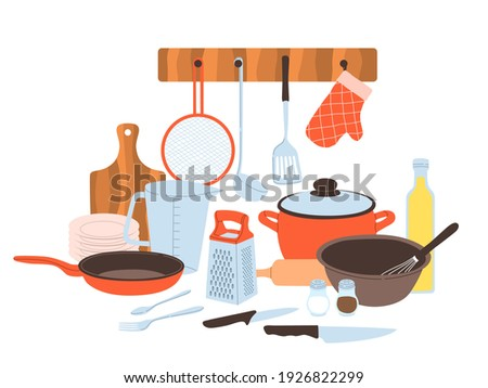 Kitchen utensils. Baking and cuisine tools composition, doodle drawn style cookware and tableware, cartoon pots and pans, knives and forks, cutting board and grater for vegetables vector concept Foto stock ©