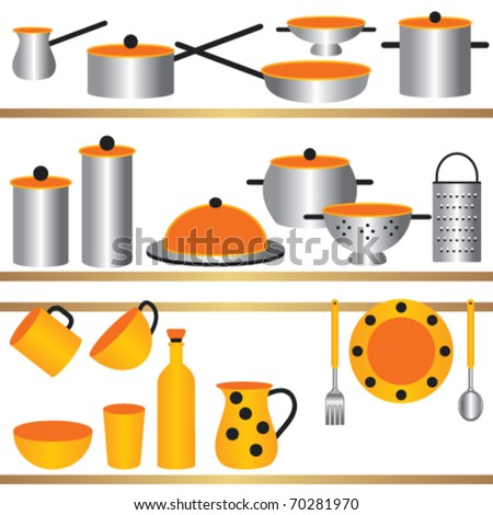 Kitchen Utensils Composition Kitchen Utensils On Shelves That