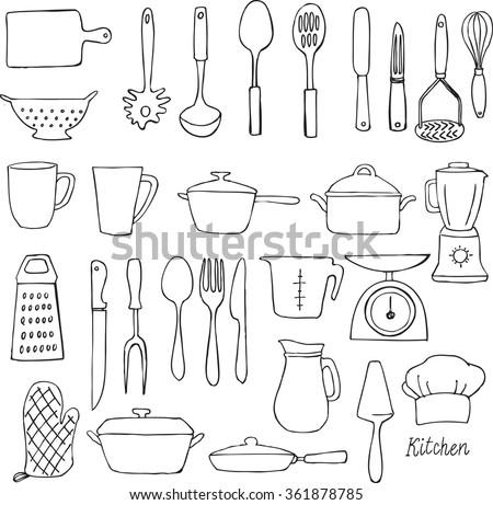 Kitchen utensils doodle vector set