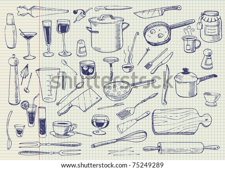 Kitchen Utensils Doodles Vector - 75249289 : Shutterstock