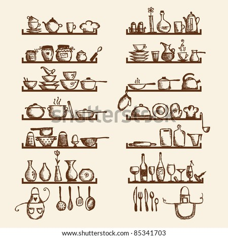 Kitchen Utensils Drawings Kitchen Utensils on Shelves