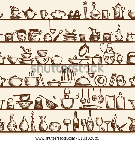 Kitchen utensils on shelves, sketch drawing seamless pattern - stock vector