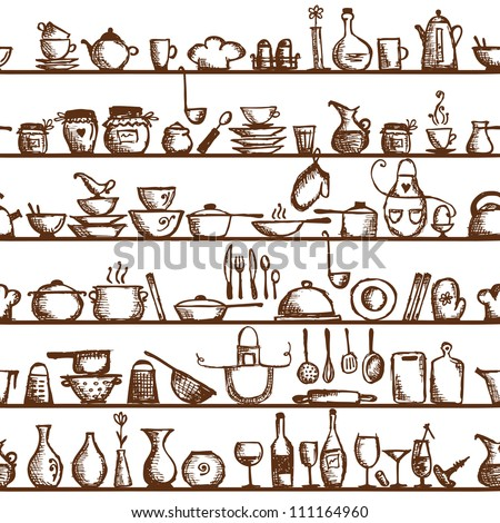Kitchen utensils on shelves, sketch drawing seamless pattern