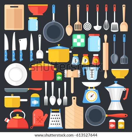 Kitchen utensils set. Kitchenware, cookware, kitchen tools collection. Modern flat icons set, graphic elements, objects for website, web banner, infographics. Flat design concept. Vector illustration.