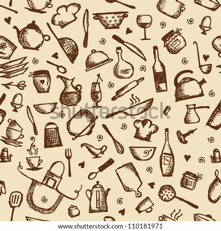 Kitchen utensils sketch, seamless pattern