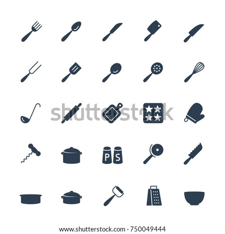 Kitchen utensils vector icons set in glyph style