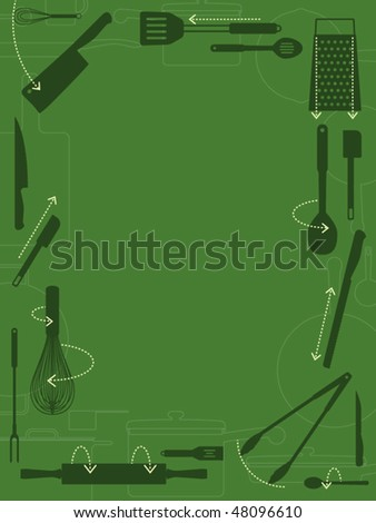 Kitchen utensils with directional arrows decorative border