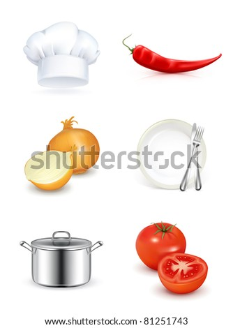 Kitchen, vector icon set