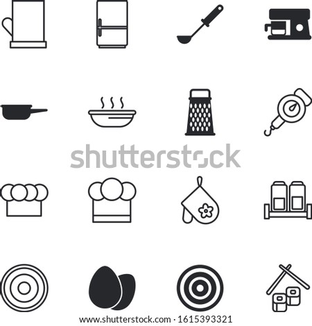 kitchen vector icon set such as: classic, supply, monochrome, caffeine, salt, web, door, weight, weighing, automatic, pan, scale, cappuccino, machine, flavor, measurement, floor, stainless, accessory