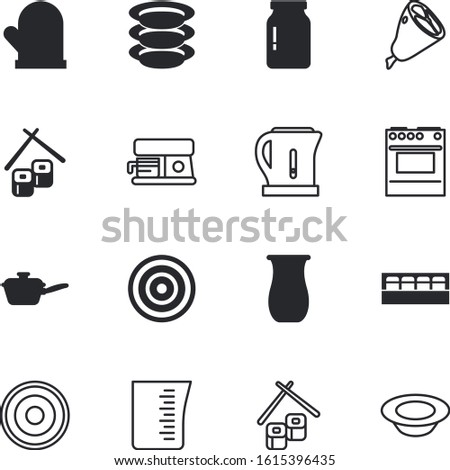 kitchen vector icon set such as: pepper, homemade, dishes, tableware, protective, scale, crockery, automatic, earthenware, long, storage, simple, morning, teapot, label, wash, caffeine, diner