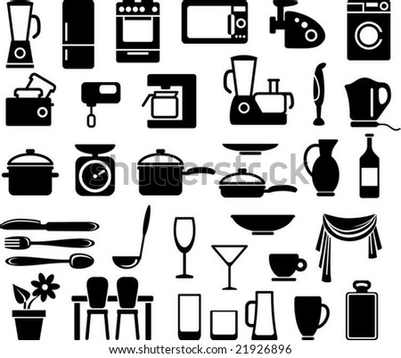 Kitchen ware and home appliances icon set