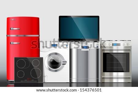 Kitchen - washing machine, icebox, gas stove, dishwasher