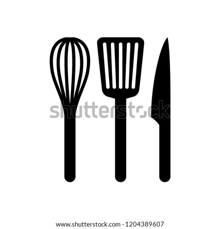 Kitchen whip, slotted turner spatula and knife icons. Black silhouette vector whisk, spatula and knife icon set.