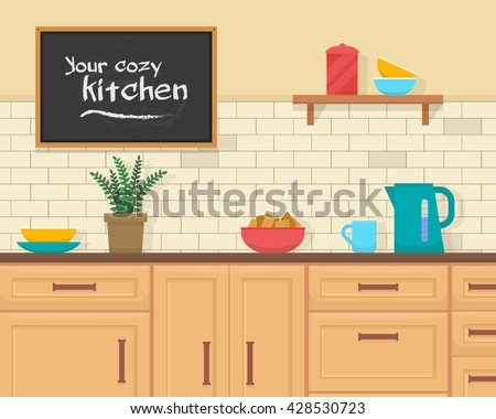 kitchen with furniture set