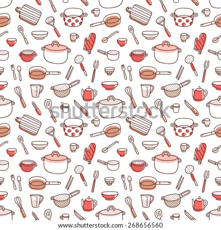 Kitchenware and cooking utensils colorful and fun doodle seamless pattern