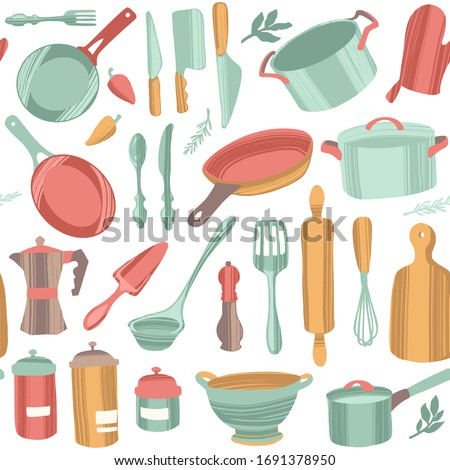 Kitchenware and utensils. Cooking flat hand drawn seamless pattern. Kitchen appliance decorative colorful illustration. Kitchen textile, vector background.