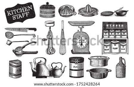 Kitchenware Hand Drawn. Bakery Tools. Сutlery Vector. Black and White Handdrawn Staff. Cooking Utensils Engraving. Cooking Stuff for Menu Decoration. Engraved Old Sketch in Vintage Style.