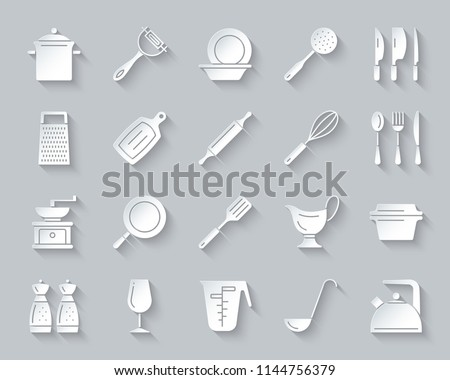 Kitchenware paper cut art icons set. Sign kit of cookware. Dishware pictogram collection includes egg beater, grater, peeler. Simple kitchen ware vector paper carved icon shape. Material design symbol