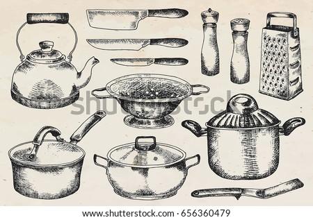 Beautiful tableware and kitchen utensils illustration  sc 1 st  Vecteezy & Crockery Set Hand Drawn vector Illustration - Download Free Vector ...
