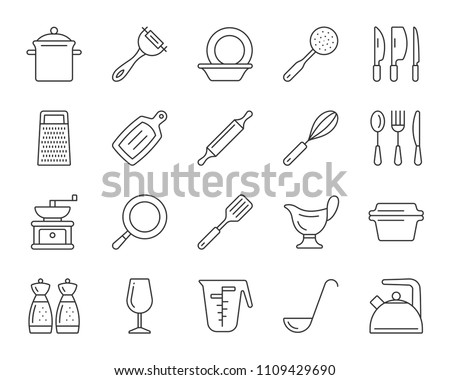Kitchenware thin line icons set. Outline sign kit of cookware. Dishware linear icon collection includes spatula, skimmer, grater. Simple kitchenware black contour symbol on white. Vector Illustration