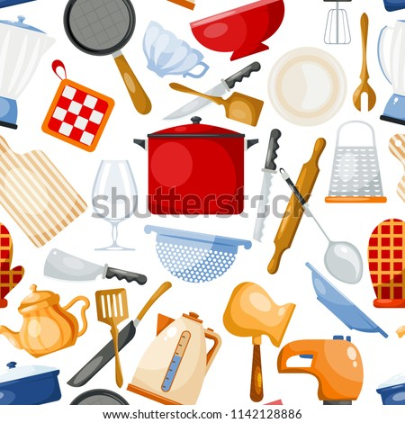 Kitchenware vector cookware for cooking and kitchen utensils or cutlery for kitchener illustration tableware in kitchenette set seamless pattern background