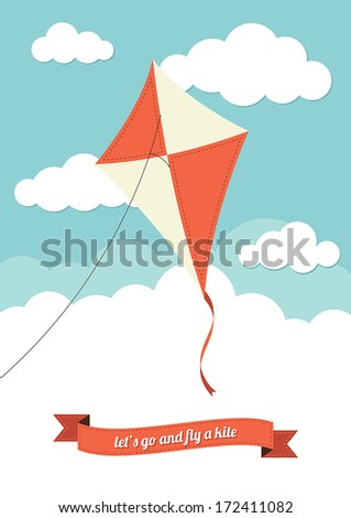 kite flying against a cloudy