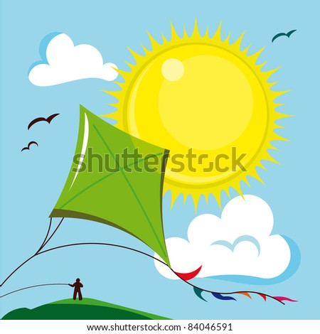 Kite in the sunny sky - Vector illustration