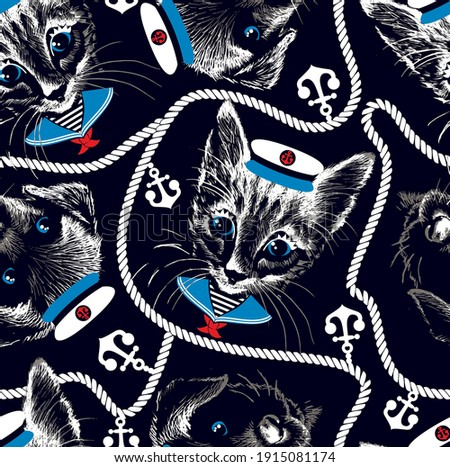 Kitten and puppy faces with Sailor hat, Sailor collar and rope with anchor. Marine seamless pattern. Vector illustration