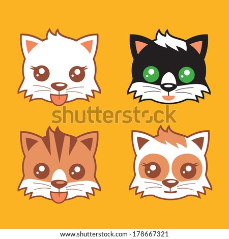 Kitten Heads vector