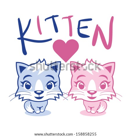 kitten love vector