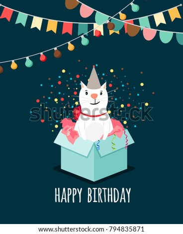 Kitten present box. White cat gift vector illustration elegant happy birthday card #794835871