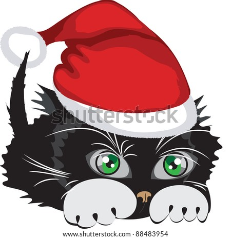 Kitten wearing a Santa Claus hat over white background. Vector illustration.