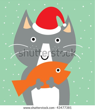kitten with his loving fish in xmas