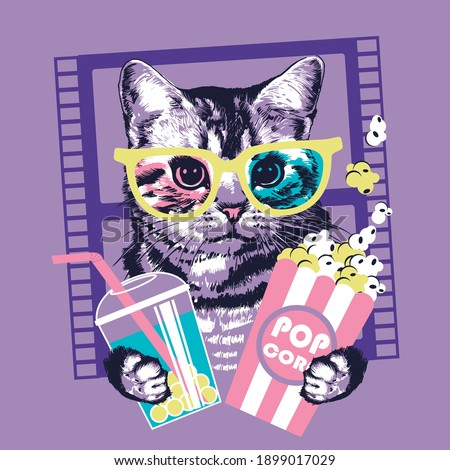 Kitten with popcorn and tea in 3d glasses. Vector illustration.