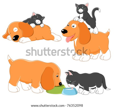 Kitty and puppy. Vector collection