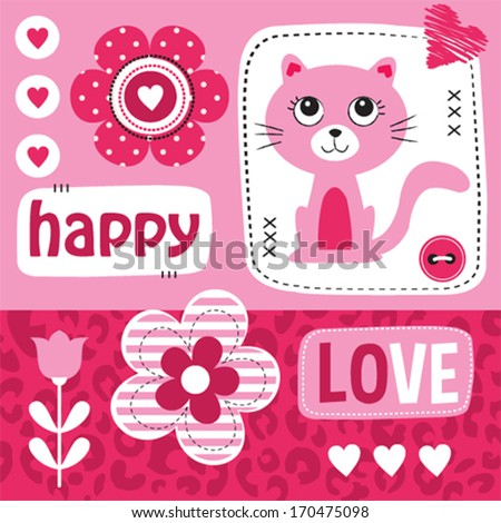 kitty cat love happy valentine invitation card vector illustration