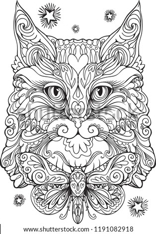 Stock Photo kitty cat moth bow coloring book vector page